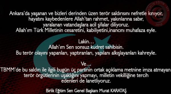 Ankara'da Gerçekleştirilen Saldırıyı Nefretle Kınıyoruz.