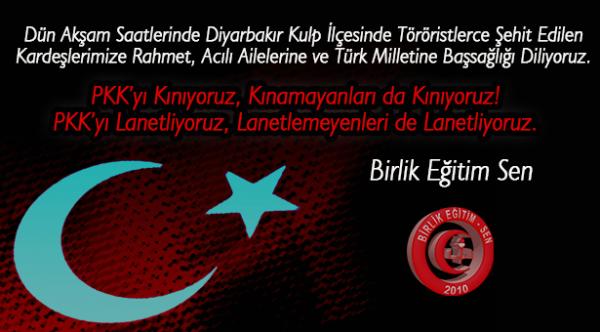 PKK'yı Kınıyoruz, Kınamayanları da Kınıyoruz! PKK'yı Lanetliyoruz, Lanetlemeyenleri de Lanetliyoruz.